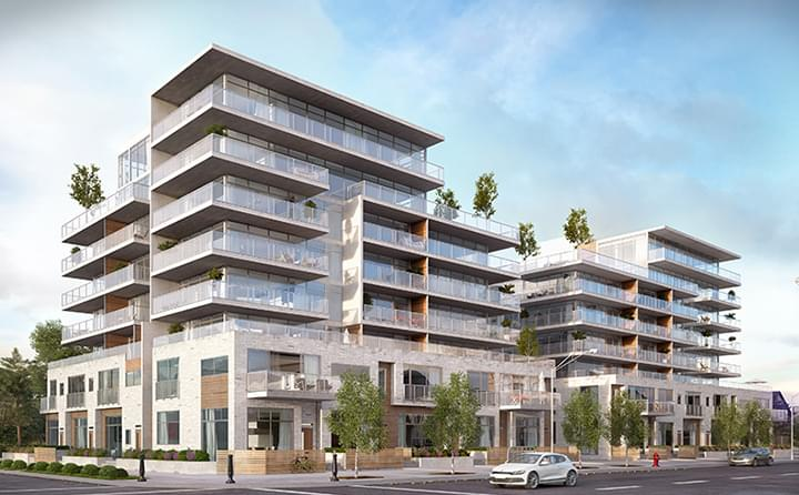 Exterior rendering of Ezra on Riley Park condos