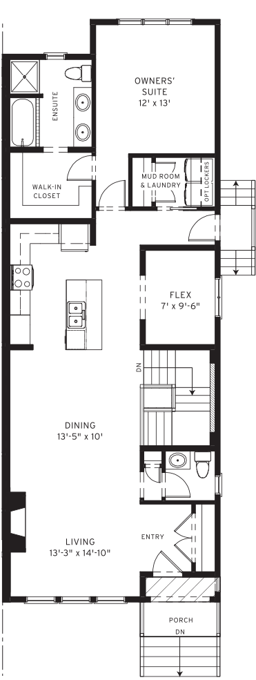 Section23 Mahogany Executive Paired Home - Elm Model - Main Floor floorplan
