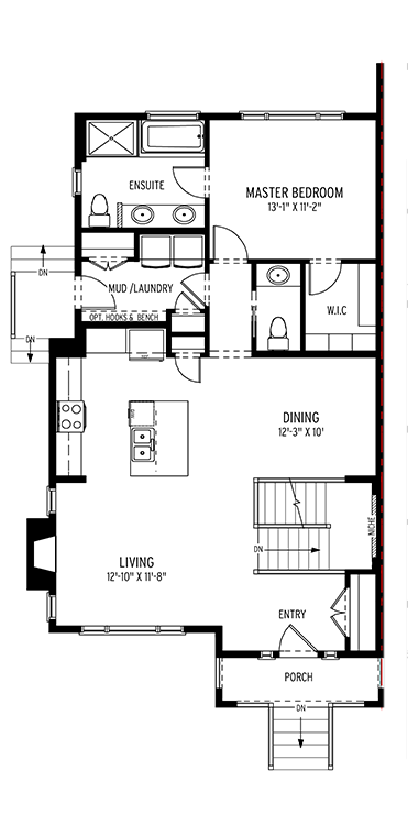 Section23 Mahogany Executive Paired Home - Maple Model - Main Floor floorplan
