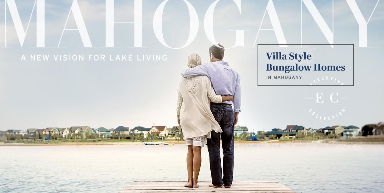 Banner image of Man and Woman standing on dock looking over Mahogany Lake